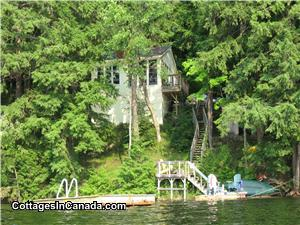 Cottage view from the lake, swimming raft