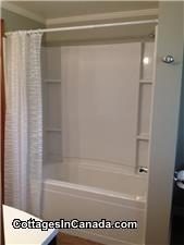 New tub and shower surround in a completely renovated bathroom