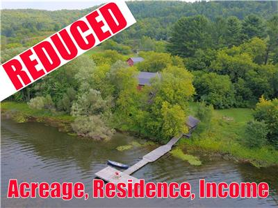 REDUCED PRICE: OUTOUAIS WATERFRONT WITH ACREAGE AND INCOME, Zoned for Tourism and/or Residential