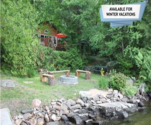 Great sunsets, hot tub and well treed lot. Available Year Round